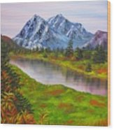 Fall In Mountains Landscape Oil Painting Wood Print
