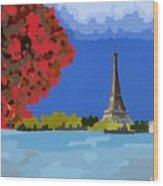 Fall In Paris Wood Print