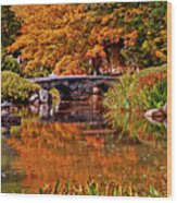 Fall In The Japanese Gardens Wood Print