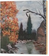 Fall In The Mountains Wood Print