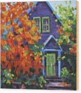 Fall In The Neighborhood Wood Print