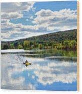 Fall Kayaking Reflection Landscape Wood Print