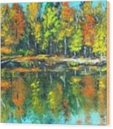 Fall Landscape Acrylic Painting Framed Wood Print