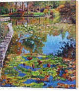 Fall Leaves On Lily Pond Wood Print