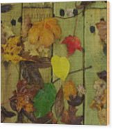 Fall Leaves On The Deck Wood Print