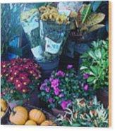 Fall Market Scene In Watercolor Wood Print