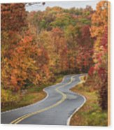 Fall Mountain Road Wood Print