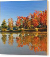 Fall On Lake Wood Print