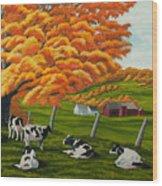 Fall On The Farm Wood Print