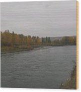 Fall Rains Down On The River Wood Print