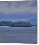 Fall Rainstorm Over Lake Wausau Wood Print