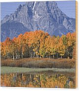 Fall Reflection At Oxbow Bend Wood Print
