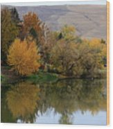 Fall Reflection Below The Hills In Prosser Wood Print