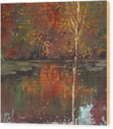 Fall Reflection Wood Print