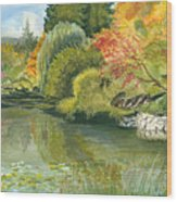 Fall Reflections Butchart Gardens Wood Print by Vidyut Singhal