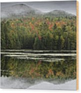 Fall Reflections In The Adirondack Mountains Wood Print by Brendan Reals