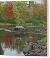 Fall River Reflection Wood Print
