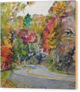 Fall Road - Watercolor Wood Print