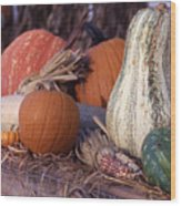 Fall-roadside-produce Wood Print