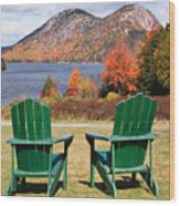 Fall Scenic With  Adirondack Chairs At Jordan Pond Wood Print