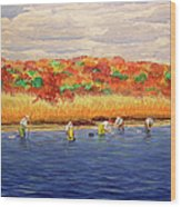 Fall Shellfishing In New England Wood Print