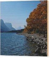 Fall Shoreline. Wood Print