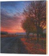 Fall Sunrise Wood Print