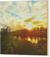 Fall Sunset At Lake Murray San Diego Wood Print