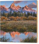 Fall Teton Tip Reflections Wood Print