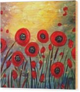 Fall Time Poppies  Wood Print