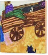 Fall Wagon Ride Wood Print