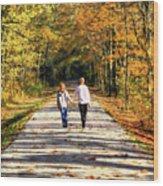 Fall Walk In The Woods Wood Print