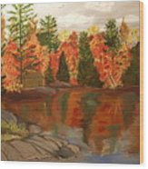 Fall Waterfront Wood Print