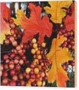 Fall Wreath Wood Print