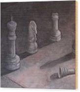 Fallen Chessman Wood Print