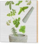 Falling Herbs Wood Print by Amanda Elwell