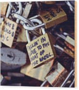 Falling In Love To The Beat Of The Music, Love Lock Wood Print