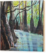 Falling Leaves Wood Print