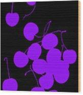 Falling Purple Cherries Wood Print
