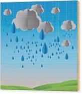Falling Rain Wood Print