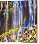 Falling Rainbows Wood Print