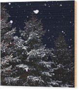 Falling Snow Wood Print