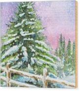 Falling Snowflakes Wood Print