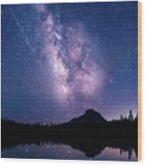 Falling Star Over The Sierras Wood Print