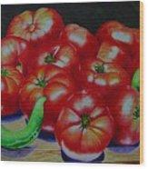 Falling Tomato Wood Print by Ron Sylvia