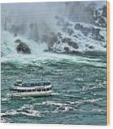 Falls Boat Wood Print
