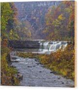 Falls Fishing Wood Print by Mark Papke