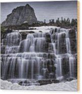 Falls In Glacier 1 Wood Print