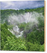 Falls Through The Fog - Plitvice Lakes National Park Croatia Wood Print