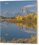 Falltime At Oxbow Bend Wood Print